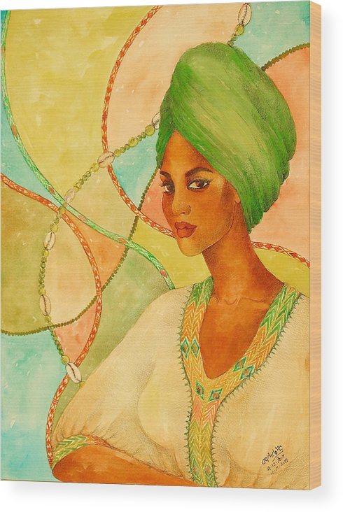 Mahlet Wood Print featuring the painting A Portrait by Mahlet