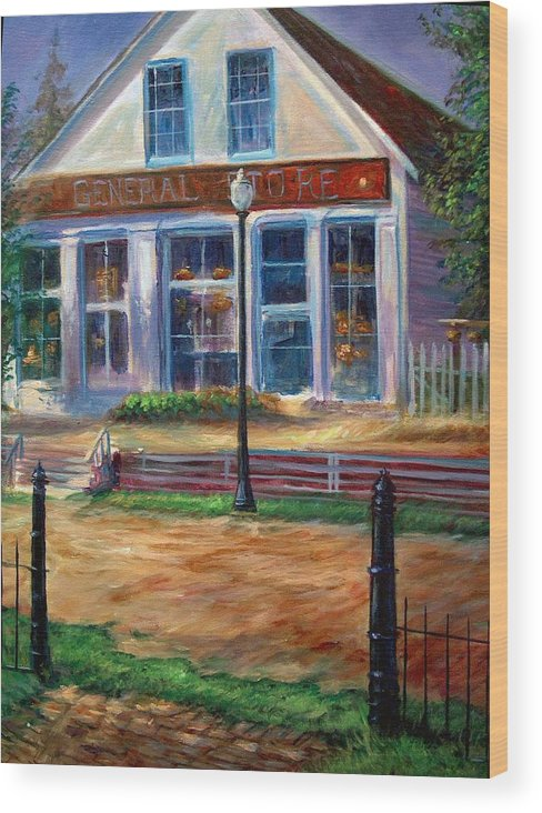 General Store Wood Print featuring the painting A Simpler Time by Tommy Winn