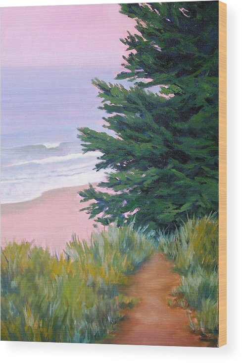 Ocean Wood Print featuring the painting Above The Beach El Capitan by Dorothy Nalls