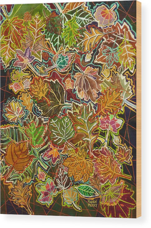 Mixed Media Wood Print featuring the painting Abstract Leaves by Karen Merry