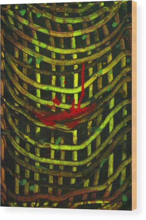 Abstract Wood Print featuring the painting American Factory by Gayland Morris