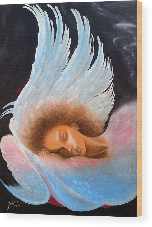 Angel Wood Print featuring the painting Angelic Dream by Adrian Olteanu
