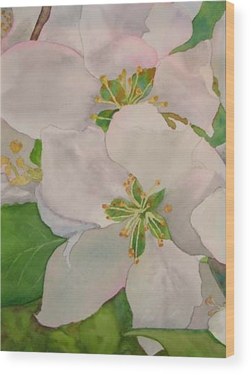 Apple Blossoms Wood Print featuring the painting Apple Blossoms by Sharon E Allen