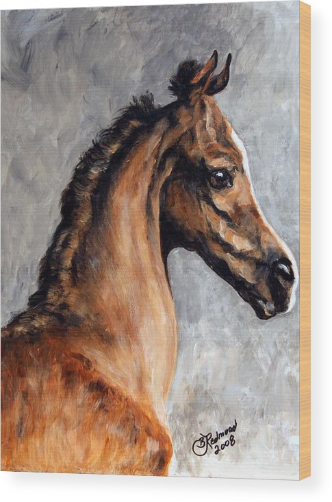 Horse Wood Print featuring the painting Arabian Foal by BJ Redmond
