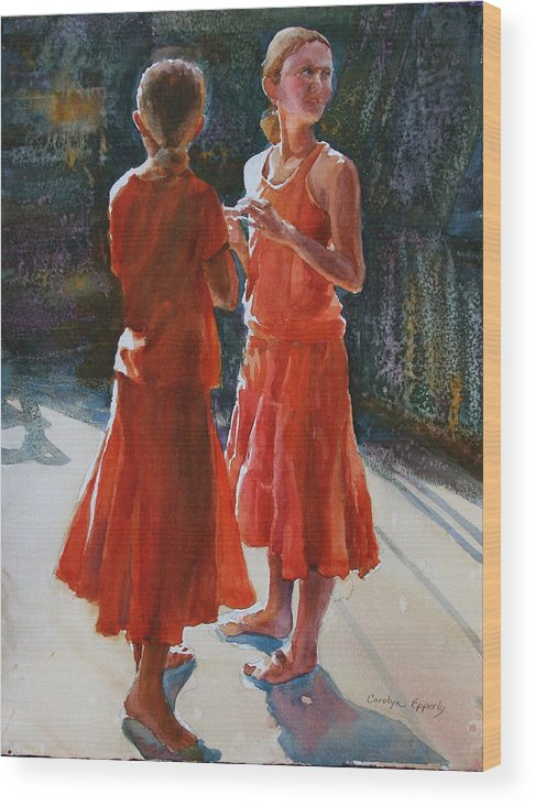 Figures Wood Print featuring the painting Are They Twins by Carolyn Epperly