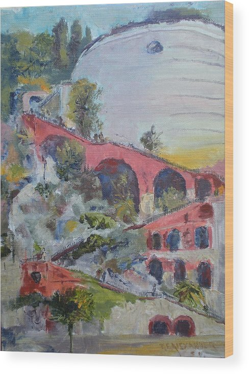 Historical Stairway To The Fort Chateau In The Port Of Nice Wood Print featuring the painting Assenseur Du Chateau by Bryan Alexander