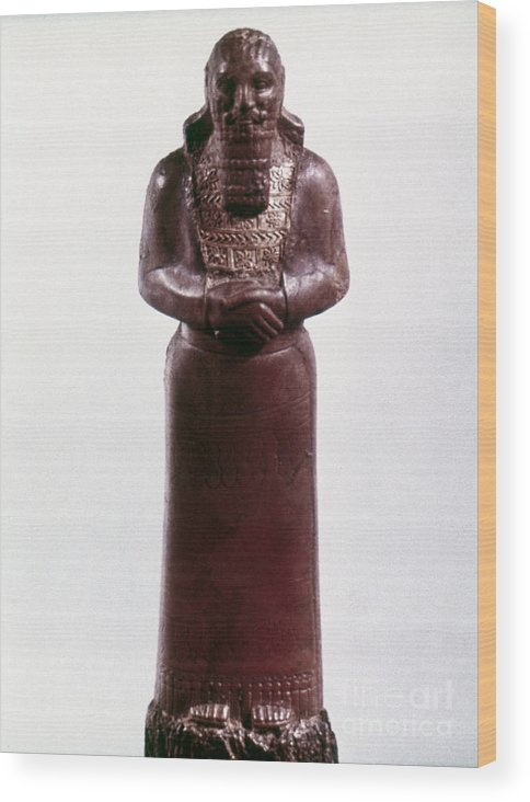 9th Century Bc Wood Print featuring the photograph Assyrian Statue by Granger