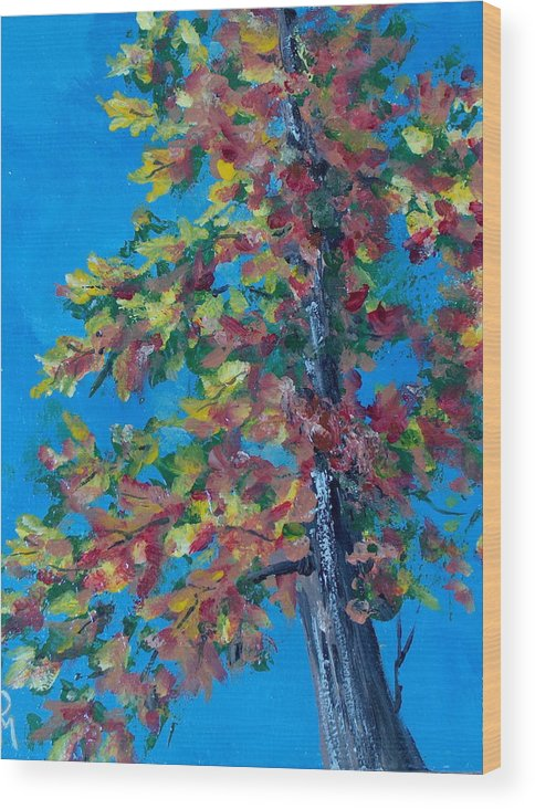 Tree Wood Print featuring the painting Asymmetree by Pete Maier