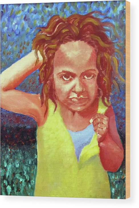 Portrait Wood Print featuring the painting Attitudinal by Alima Newton