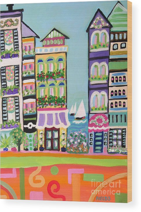 Cityscape Wood Print featuring the painting Avenue With Sailboats by Karen Fields
