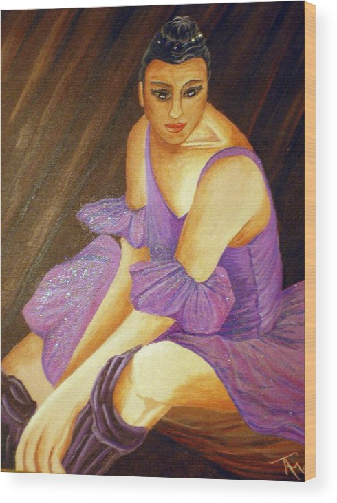 Ballet Wood Print featuring the painting Ballerina by Tammera Malicki-Wong