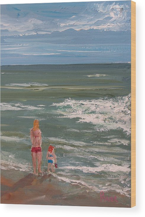 Seascape Wood Print featuring the painting Beach Babes by Pete Maier