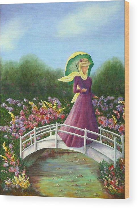 Lady With Flowers Wood Print featuring the painting Beauty Wherever She Goes by Merle Blair