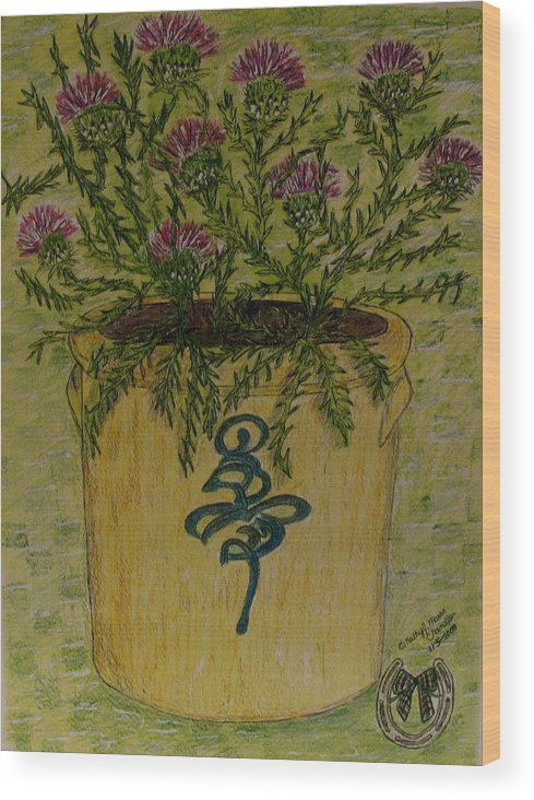 Vintage Wood Print featuring the painting Bee Sting Crock With Good Luck Horseshoe by Kathy Marrs Chandler