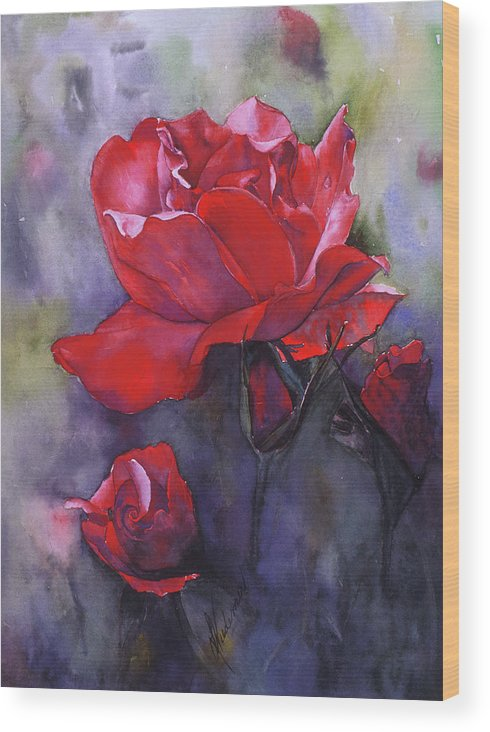 Red Rose Wood Print featuring the painting Big Red by Leah Wiedemer