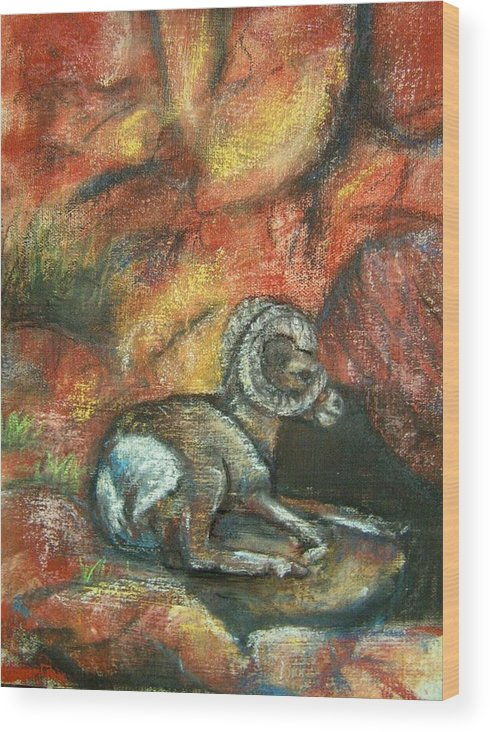 Wildlife Wood Print featuring the painting Bighorn by Darla Joy Johnson