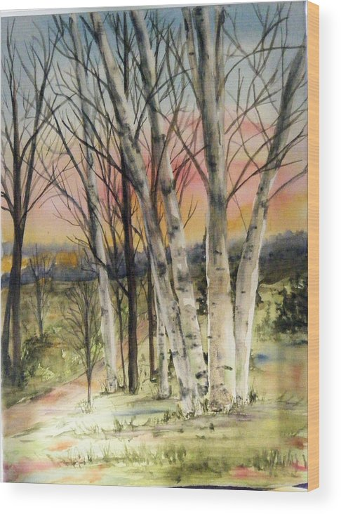 Trees Wood Print featuring the painting Birch Trees On Canvas by Diane Ziemski