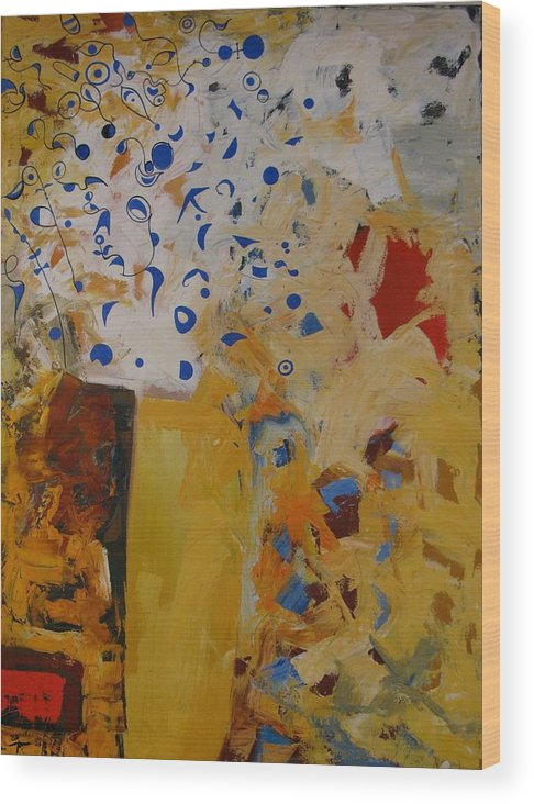 Abstract Wood Print featuring the painting Birdsong by David McKee