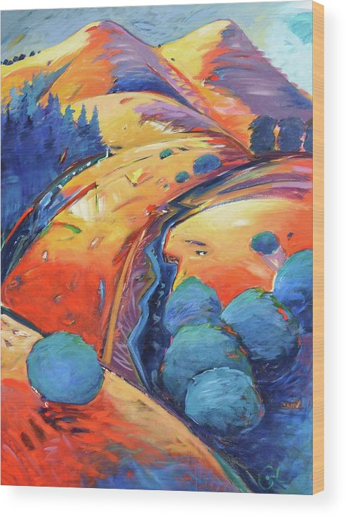 Hills Wood Print featuring the painting Blue And Gold by Gary Coleman