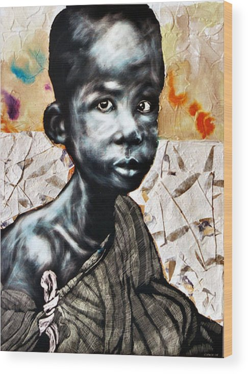Portriat Wood Print featuring the mixed media Blue Boy In A Big Sweater by Chester Elmore