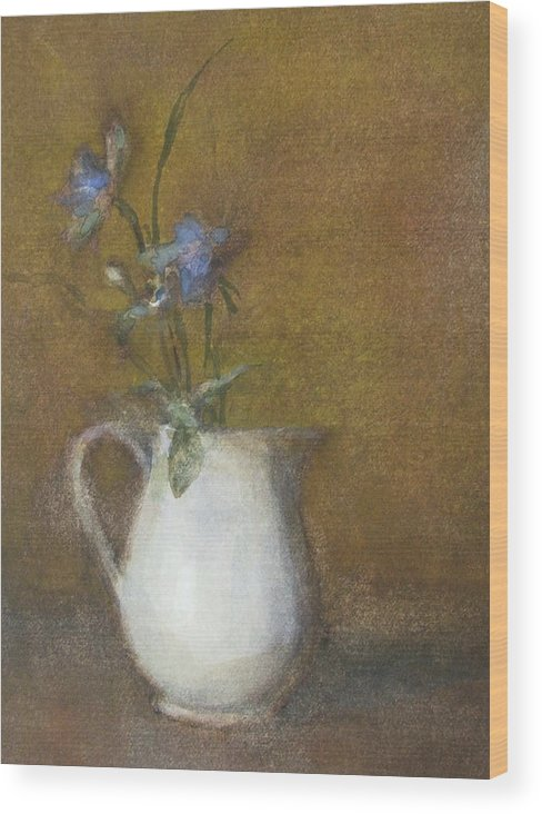 Floral Still Life Wood Print featuring the painting Blue Flower by Joan DaGradi