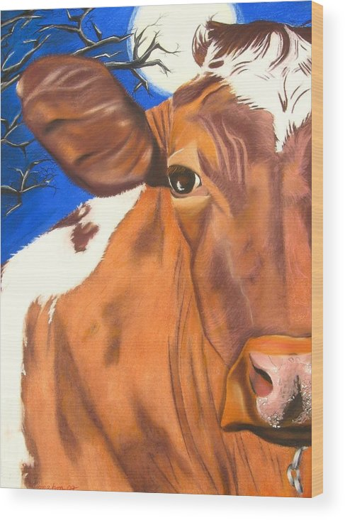 Cow Painting Wood Print featuring the pastel Blue Moo by Michelle Hayden-Marsan