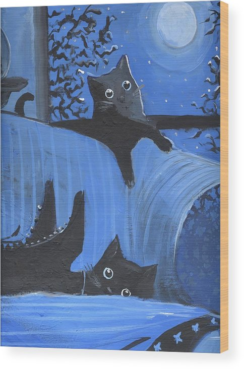 Halloween Wood Print featuring the painting Blue Moon Halloween by Sylvia Pimental