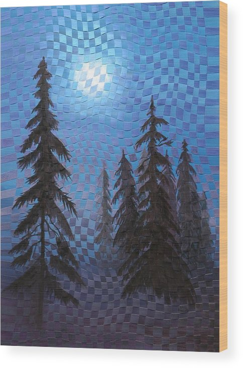 Landscape Wood Print featuring the painting Blue Moon by Linda L Doucette