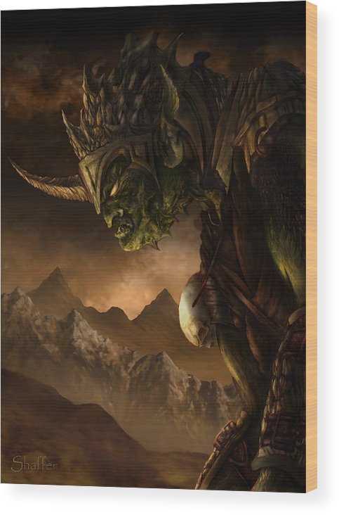 Goblin Wood Print featuring the mixed media Bolg The Goblin King by Curtiss Shaffer