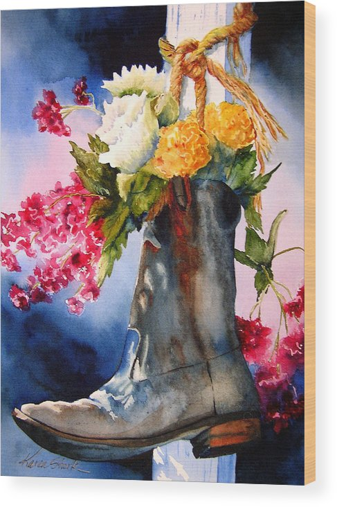Cowboy Wood Print featuring the painting Boot Bouquet by Karen Stark