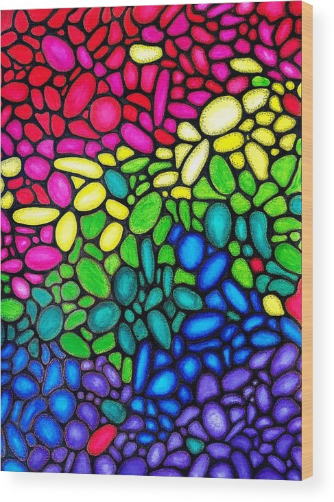 Balls Wood Print featuring the painting Bubbles by Bijna Balan