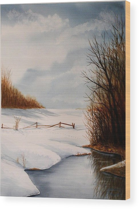 Winter Wood Print featuring the painting Bunny Trail by Sharon Steinhaus