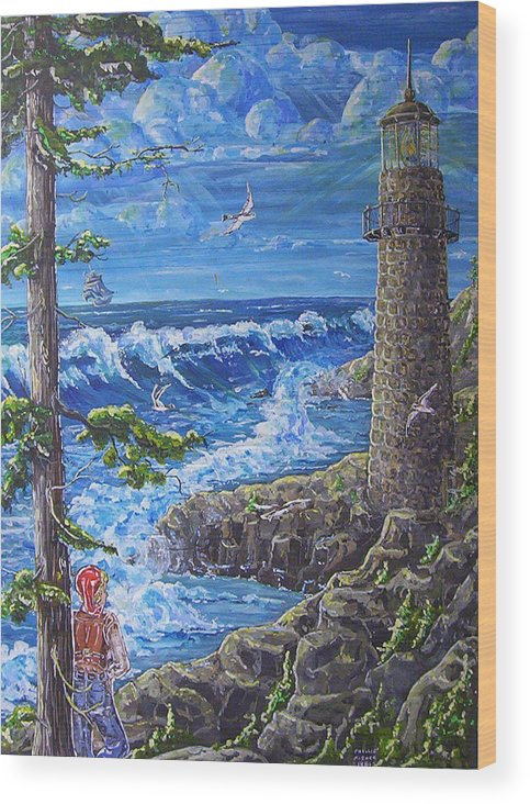 Seascape Wood Print featuring the painting By The Sea by Phyllis Mae Richardson Fisher