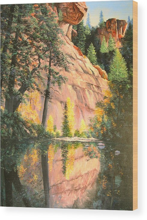 Connie Tom Wood Print featuring the painting Call Of The Canyon by Connie Tom