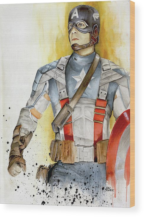 Captain America Wood Print featuring the painting Captain America by Marc Brawner