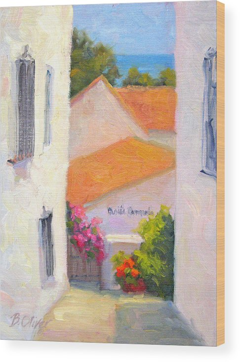 Spain Wood Print featuring the painting Casita Carmela by Bunny Oliver