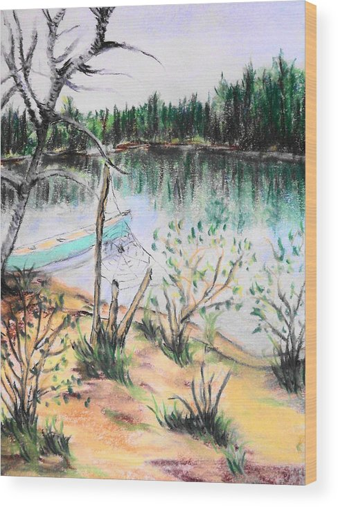 Landscape Wood Print featuring the pastel Chain Lakes Duck Mountain Mb by Janice Robertson