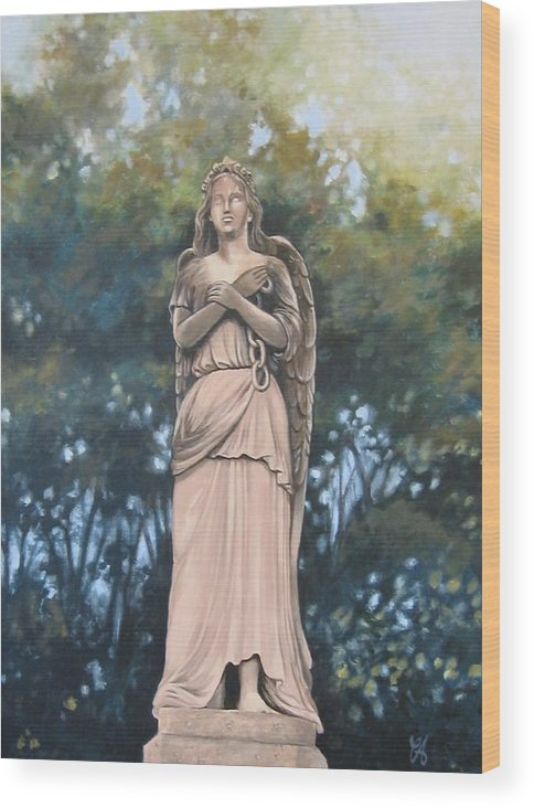 Angel.figure Wood Print featuring the painting Chained Angel by Carrie Auwaerter