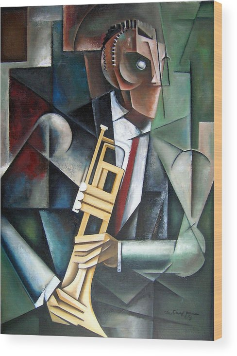 Miles Davis Jazz Trumpet Cubism Wood Print featuring the painting Changeling by Martel Chapman