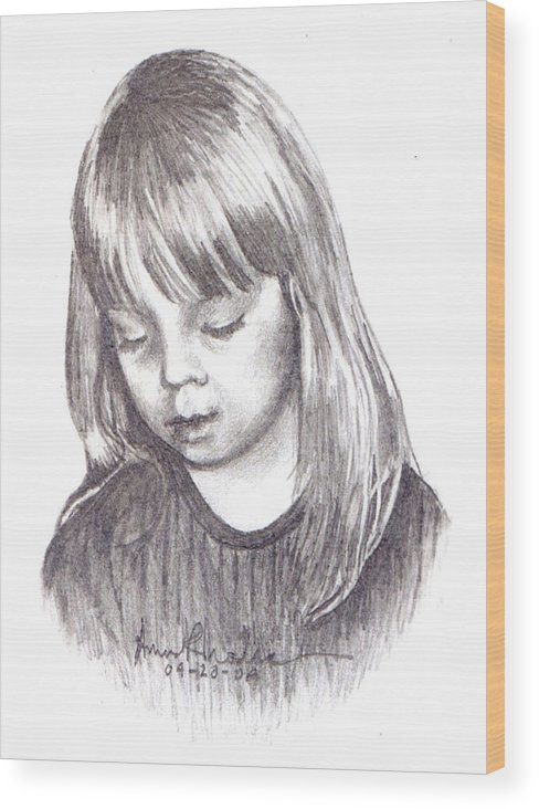 Portrait Wood Print featuring the painting Charidy by Anne Rhodes
