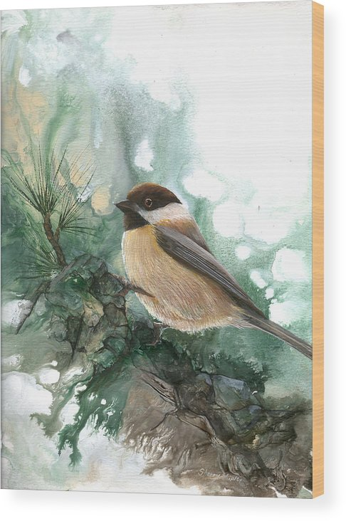 Bird Wood Print featuring the painting Chickadee by Sherry Shipley