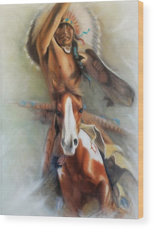 Native American Wood Print featuring the painting Chief Hole In The Day by Elizabeth Silk