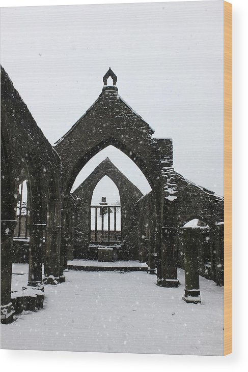 Heptonstall Wood Print featuring the photograph Church Of St Thomas A Becket In Heptonstall In Falling Snow by Philip Openshaw