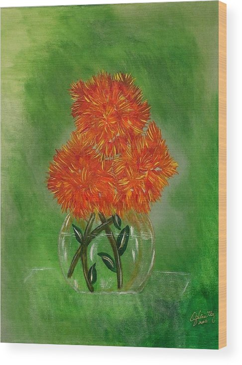 Flowers Wood Print featuring the painting Clarity by Ofelia Uz