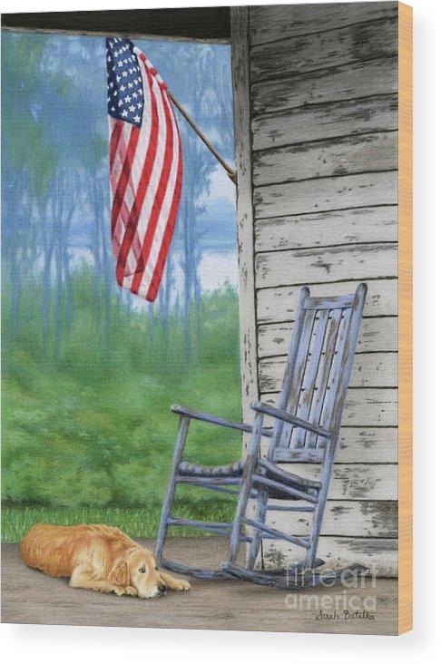 Front Porch Wood Print featuring the painting Come Home by Sarah Batalka