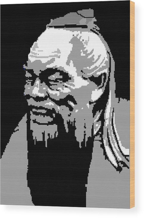 Wood Print featuring the digital art Confucius - Portrait By Asbjorn Lonvig by Asbjorn Lonvig