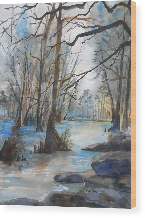 Landscape Wood Print featuring the painting Cypress Knees by Kris Dixon