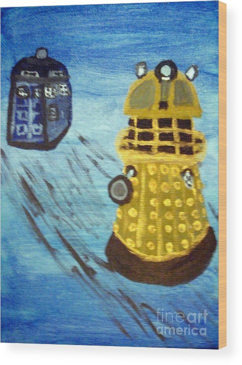 Dr. Who Wood Print featuring the painting Dalek On Blue by Elizabeth Arthur