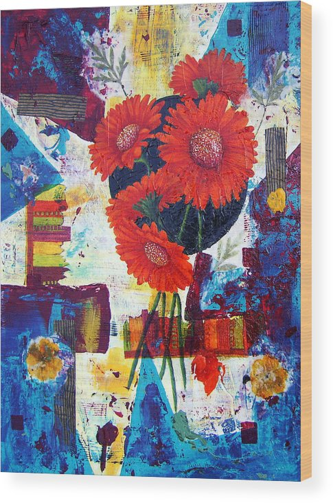 Daisy Flower Red Abstract Modern Collage Mixed Media Acrylic  Wood Print featuring the painting Dance Of The Daisies by Terry Honstead