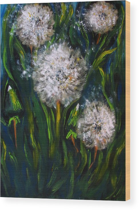 Flower Art Wood Print featuring the painting Dandelions Acrylic Painting by Natalja Picugina
